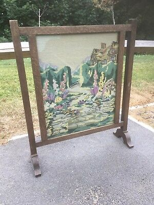 Vintage Old Antique Fire Screen, Fire Guard, Embroidered, Tapestry.