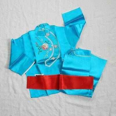 Vintage Traditional Chinese Children's Outfit - 3 piece Aqua Silk Embroidery