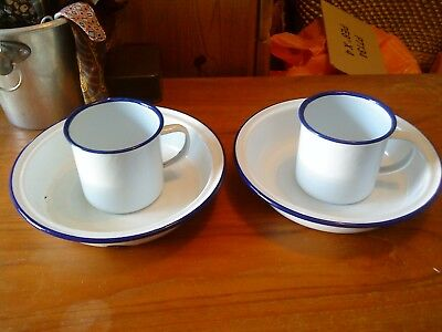 Enamel Blue & White Camping 20cm Bowls/Pie Dishes and Mugs