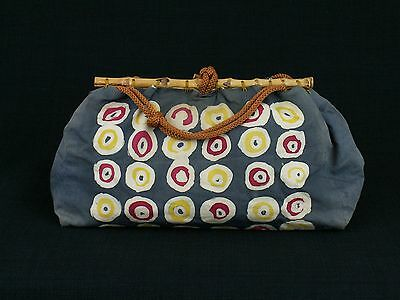 Vintage Japanese Cotton Purse Geometric Batik Bamboo & Cord Enclosure