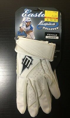 EASTON BATTING GLOVES WOMEN Size LARGE  WHITE  FAST PITCH ROLLOVER SOFTBALL  NWT