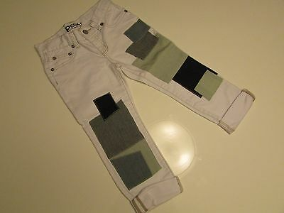 NEW AUTHENTIC Peek Dungarees  Kids'  Boys' Girl's  Patch White Jeans  SIZE 7