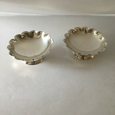 Adorable Sterling Silver Salt Cellar or Butter Pat Dish, Set of 2 Scalloped Edge