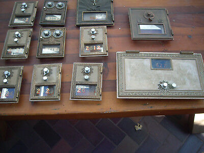 Antique RARE Post Office Doors Vintage USPS Postal Box lot of 11 misc sizes