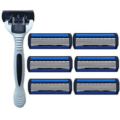 6 Layers Razor 1 Razor Holder + 7 Blades Replacement Shaver Head Razor SetDY