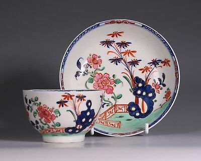 Lowestoft Redgrave Pattern Tea Bowl and Saucer 18thC