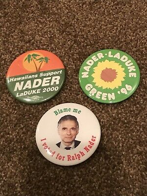 Lot Of 3 Unusual Ralph Nader Pins Green Party 1996-2000