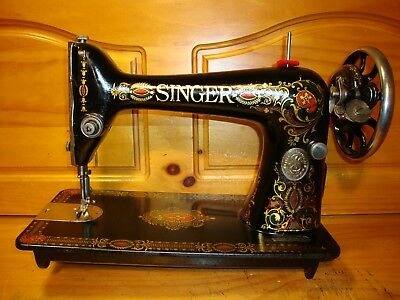 """Antique Singer Sewing Machine Head Model 66 """" Red Eye """"  ,serviced"""