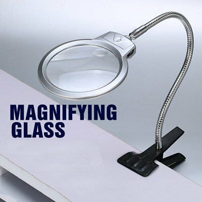 Desktop Magnifier Magnifying Glass Metal Hose LED Light Lamp With Clamp ClipDY