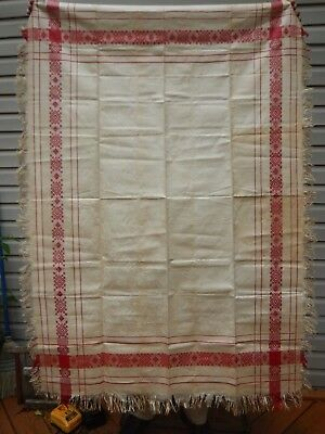 Early LINEN Tablecloth Ecru and Red  Vintage UNUSED UNWASHED