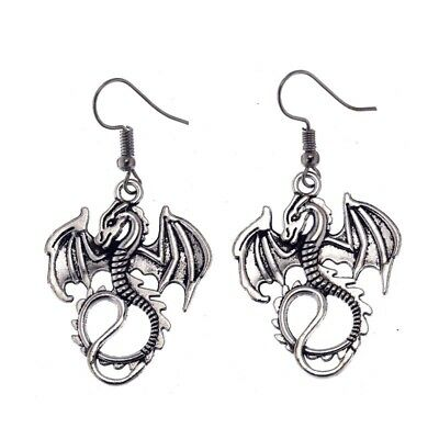 "Silver Mythical Wyverex Dragon Earrings 2"" Gothic Fantasy 2-sided Winged Hook"