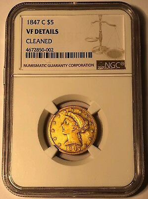 1847-C Charlotte $5 Liberty Half Eagle Gold Coin NGC VF Details Cleaned