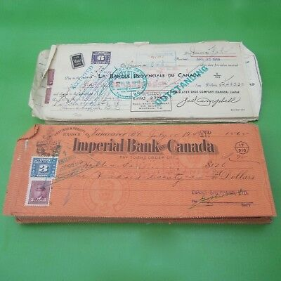 Lot of 165 Canadian Cheques with Excise Stamps, Mostly 1948 & 1949
