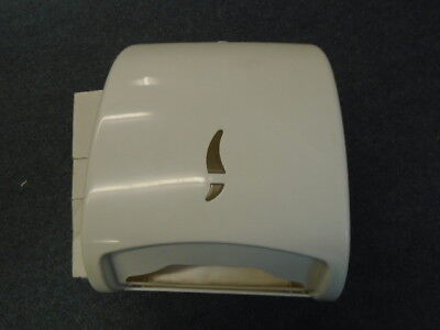 White plastic c fold paper towel dispenser with button release, BOXED and NEW