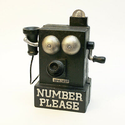 Die-Cast Iron 'Number Please' Crank Phone Antique Replica Mechanical Coin Bank