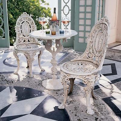 PATIO SET Cast Iron Bistro Style Cream Color Marble Top Dragon Table & Chairs
