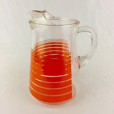 Vintage Orange Striped Glass Pitcher With Ice Lip 8 Cups 2 Quarts Retro 60s 70s