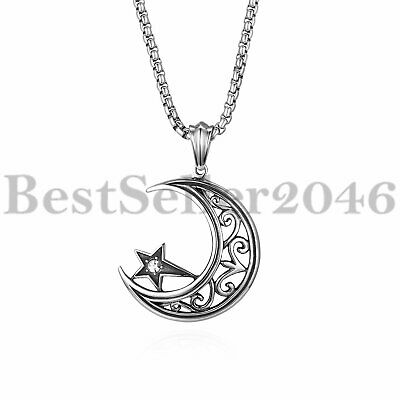 Men Women Vintage  Crescent Moon and Star Pendant Stainless Steel Necklace 22""
