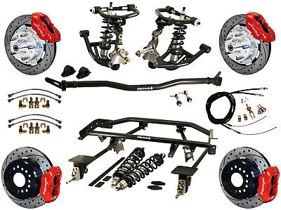 """Ridetech Coilover & 4-Link System & Wilwood Disc Brake Kit,12"""" Drilled,red,67-69"""
