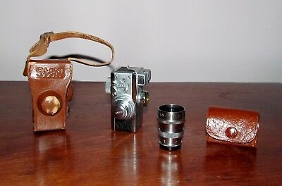 Vintage Steky Model III 16mm Mini Spy Cameras w/Leather Case & Telephoto Lens
