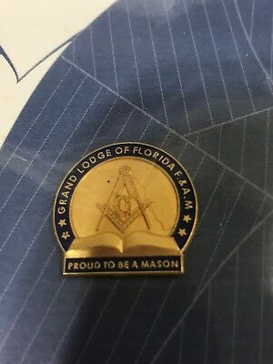 Mason Lapel Pin Florida lodge 24Kt plated pin NIP