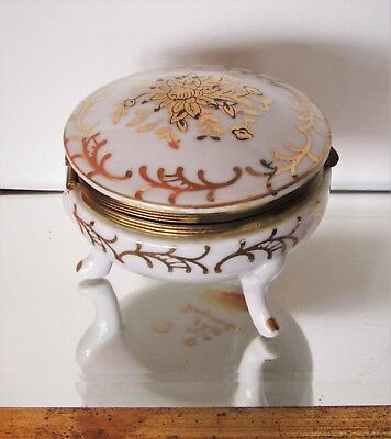 Antique Porcelain Trinket Box French Hand Gilt Trim Anchor Mark Hinged Dome Top