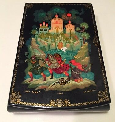 Hand-Painted Russian Black Lacquer Trinket Box Folklore Scene
