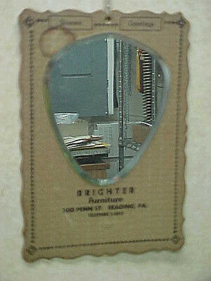 Old Vintage Antique Advertising Mirror - Brighter Furniture, Reading Pa.