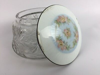 VTG Sterling Silver 925 Guilloche Lid Cut Glass Floral Jewelry Box Container MH
