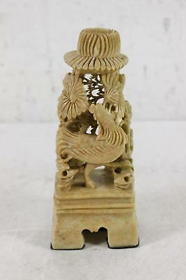"""Handmade Detailed Carved Stone Candle Holder 7.25""""H"""