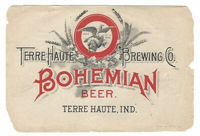 Pre Prohibition Terre Haute Brewing Bohemian Beer label Indiana