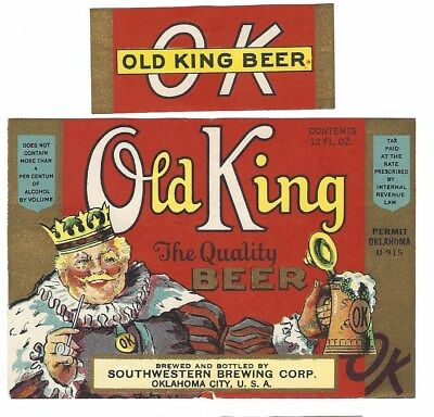Southwestern Brewing Old King Beer label with neck IRTP U# Oklahoma City OK