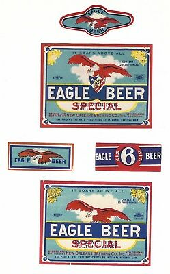 2 dif New Orleans Brewing Eagle Special Beer labels with 3 necks IRTP's LA