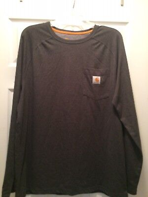 Carhartt Relaxed Fit Size L Poly/cotton Blend Gray Men's Long Sleeve Shirt