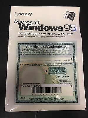 Microsoft Windows 95 Certificate Of Authenticity W CD ROM