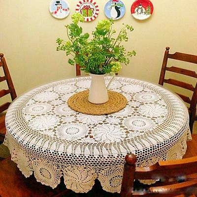 55-87 Inch Round Cotton Handmade Crochet Lace Tablecloth Doilies C04- 2 Colors