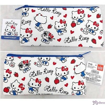 Hello Kitty Denim Handbag Pencil Pen Bag with Zipper 20 x 9.5cm (Japan Limited)