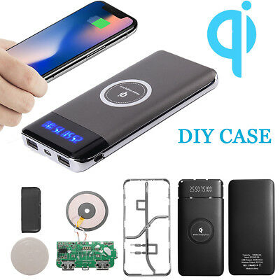 10000mAh Qi LED Power Bank Case Only Wireless Portable Battery Charger Charging