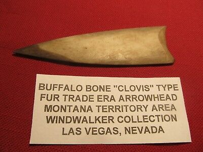 Fur Trade era  bone Arrowhead from  Coulson during the  Montana Frontier