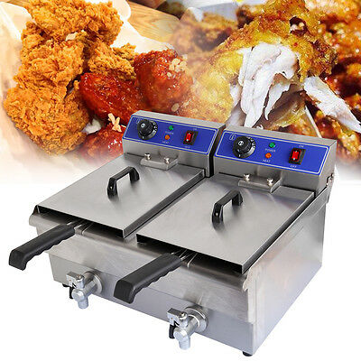20L Commercial Deep Fryer Electric Double w/Basket Stainless Steel Kitchen Dual