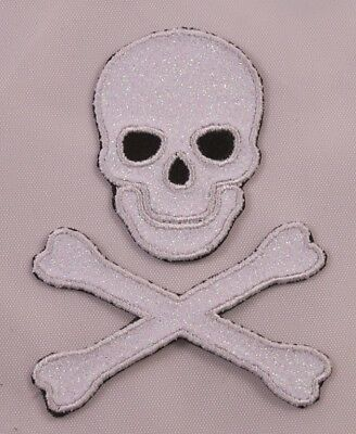 "Iron on pirate biker patch skull and crossbones German WWII Third Reich 2.5/""x3/"""