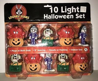 Looney Tunes - 10 Light Halloween Set - String Lights Bugs Bunny, Taz! Sealed!