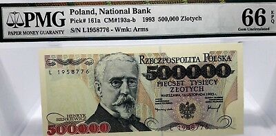 MONEY POLAND 500,000 ZLOTYCH 1993 NATIONAL BANK PMG GEM UNC PICK #161a RARE