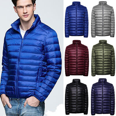 Packable Men's Down Jacket Ultralight Stand Collar Outerwear Coat Puffer M-3XL