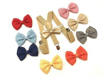 Kids New Design Gold Suspenders and Bowtie Set Wedding Matching Ties Outfit
