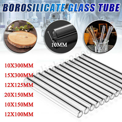 AU 300/150/125/100mm Borosilicate Glass Tubing Blowing Lab Pyrex Test Tubes Blow