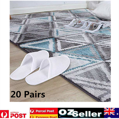 20 Pairs White Towelling Closed Toe Hotel Slippers Spa Shoes Disposable AU Stock