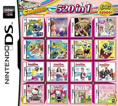 520 Games IN 1 Cartridge Multicart Girl For Nintendo DS NDS NDSL NDSi 3DS 2DS XL