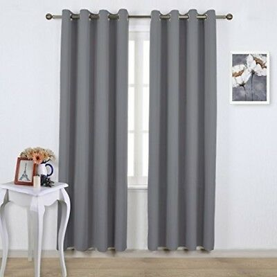 Bedroom Blackout Curtains Panels Noise Reduction Window Thermal Insulated Gray