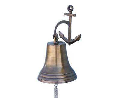 "Antiqued Brass Finish Solid Aluminum Ship Bell 12"" w/ Anchor Bracket Wall Decor"
